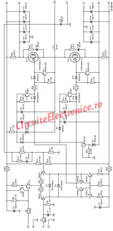 schema Amplificator audio 200 watts cu tranzistori MOSFET