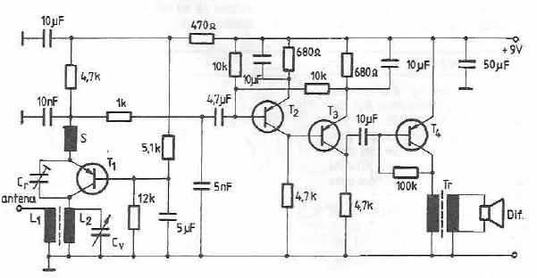radioreceptor unde scurte cu tranzistori