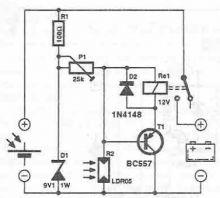 Circuit conectare acumulator panou solar